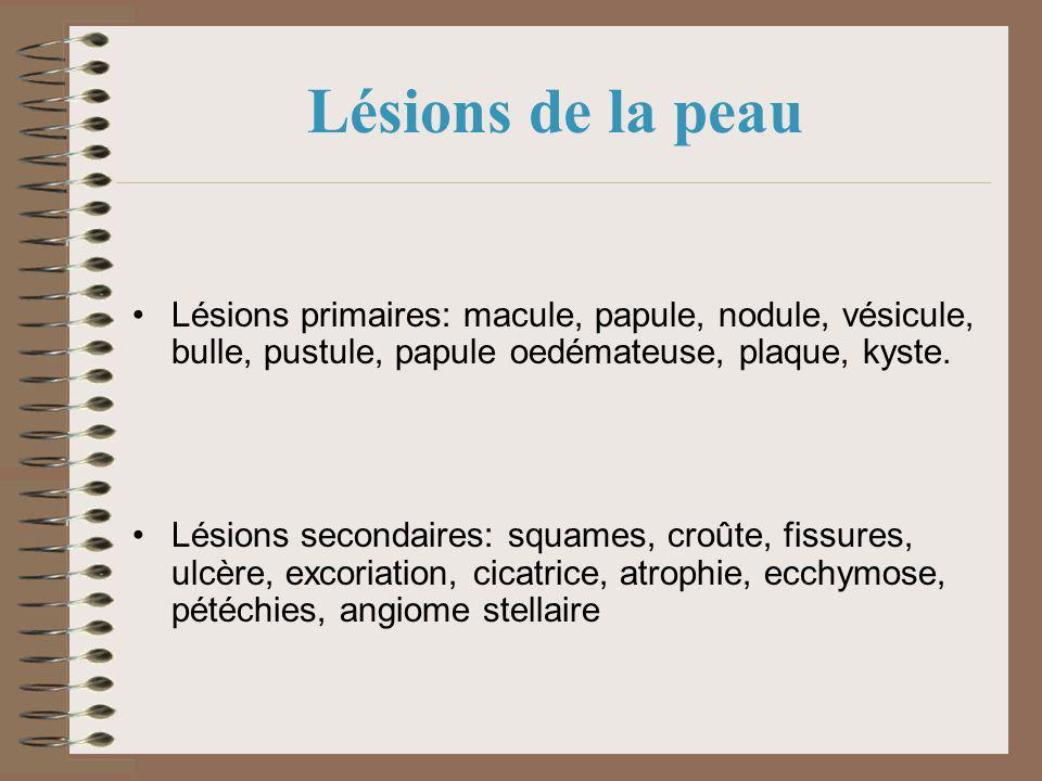 Lésions de la peau Lésions primaires: macule, papule, nodule, vésicule, bulle, pustule, papule oedémateuse, plaque, kyste. Lésions secondaires: squame