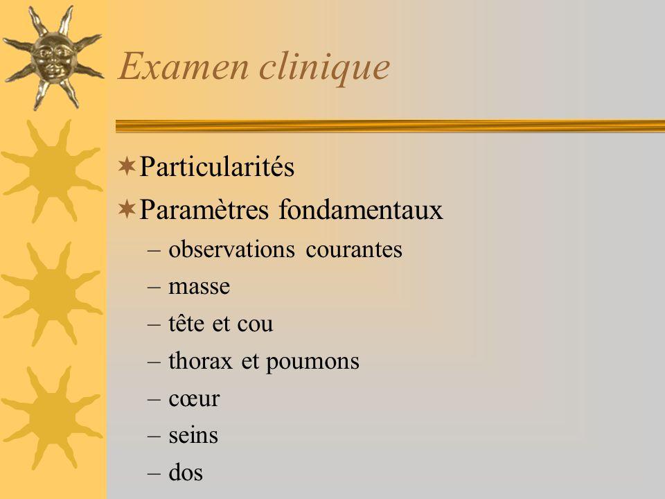 Examen clinique Particularités Paramètres fondamentaux –observations courantes –masse –tête et cou –thorax et poumons –cœur –seins –dos