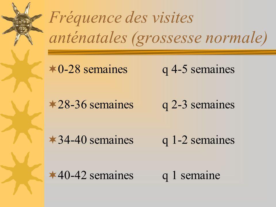 Fréquence des visites anténatales (grossesse normale) 0-28 semaines q 4-5 semaines 28-36 semaines q 2-3 semaines 34-40 semaines q 1-2 semaines 40-42 s