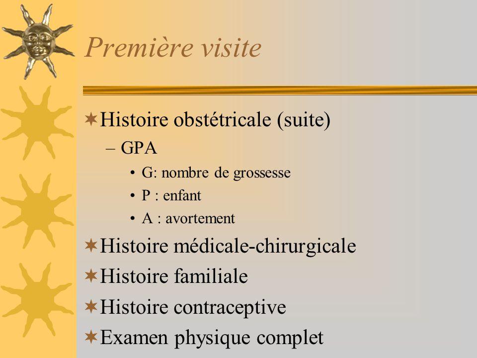 Première visite Histoire obstétricale (suite) –GPA G: nombre de grossesse P : enfant A : avortement Histoire médicale-chirurgicale Histoire familiale