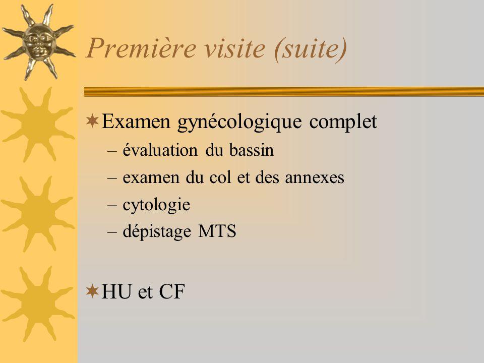 Première visite (suite) Examen gynécologique complet –évaluation du bassin –examen du col et des annexes –cytologie –dépistage MTS HU et CF
