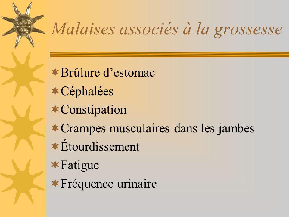 Malaises associés à la grossesse Brûlure destomac Céphalées Constipation Crampes musculaires dans les jambes Étourdissement Fatigue Fréquence urinaire