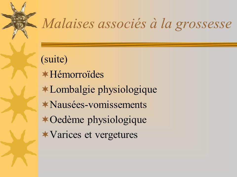 Malaises associés à la grossesse (suite) Hémorroïdes Lombalgie physiologique Nausées-vomissements Oedème physiologique Varices et vergetures