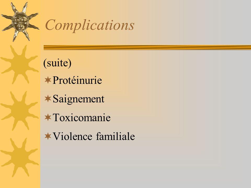 Complications (suite) Protéinurie Saignement Toxicomanie Violence familiale