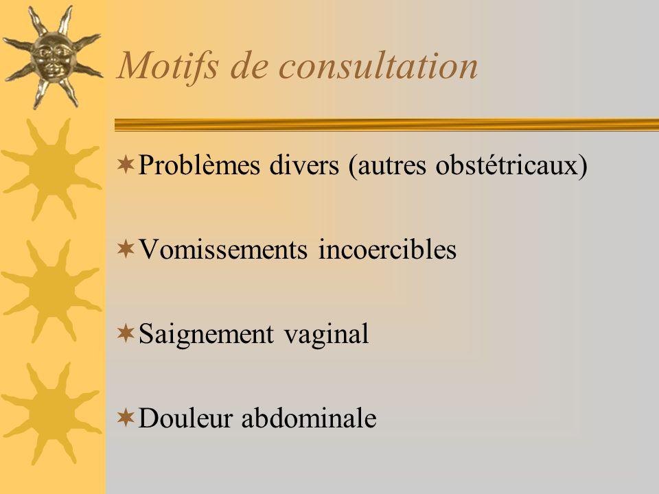 Motifs de consultation Problèmes divers (autres obstétricaux) Vomissements incoercibles Saignement vaginal Douleur abdominale