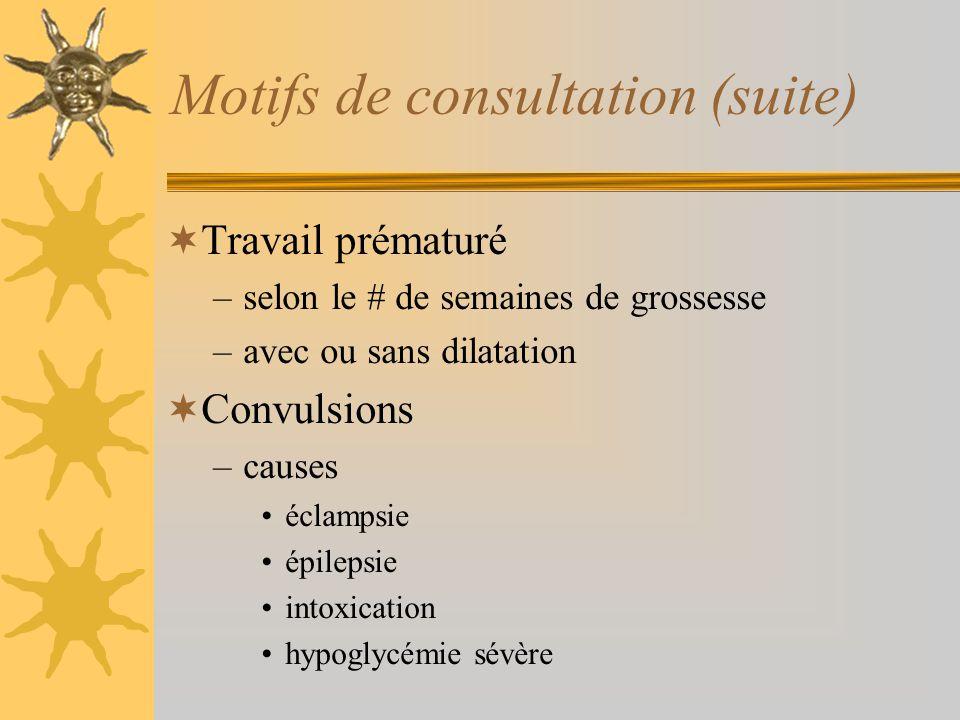Motifs de consultation (suite) Travail prématuré –selon le # de semaines de grossesse –avec ou sans dilatation Convulsions –causes éclampsie épilepsie