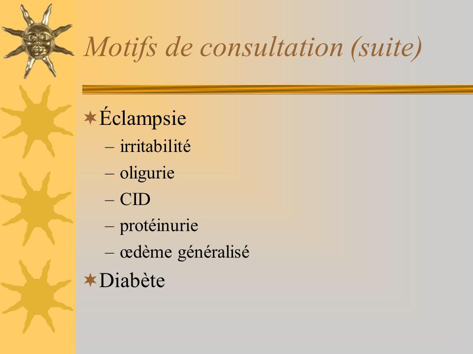 Motifs de consultation (suite) Éclampsie –irritabilité –oligurie –CID –protéinurie –œdème généralisé Diabète