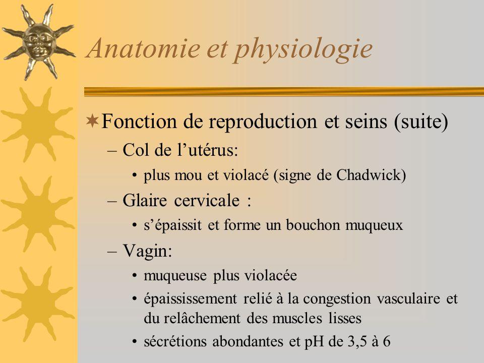 Anatomie et physiologie Fonction de reproduction et seins (suite) –Col de lutérus: plus mou et violacé (signe de Chadwick) –Glaire cervicale : sépaiss