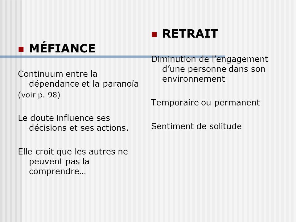MÉFIANCE Continuum entre la dépendance et la paranoïa (voir p.
