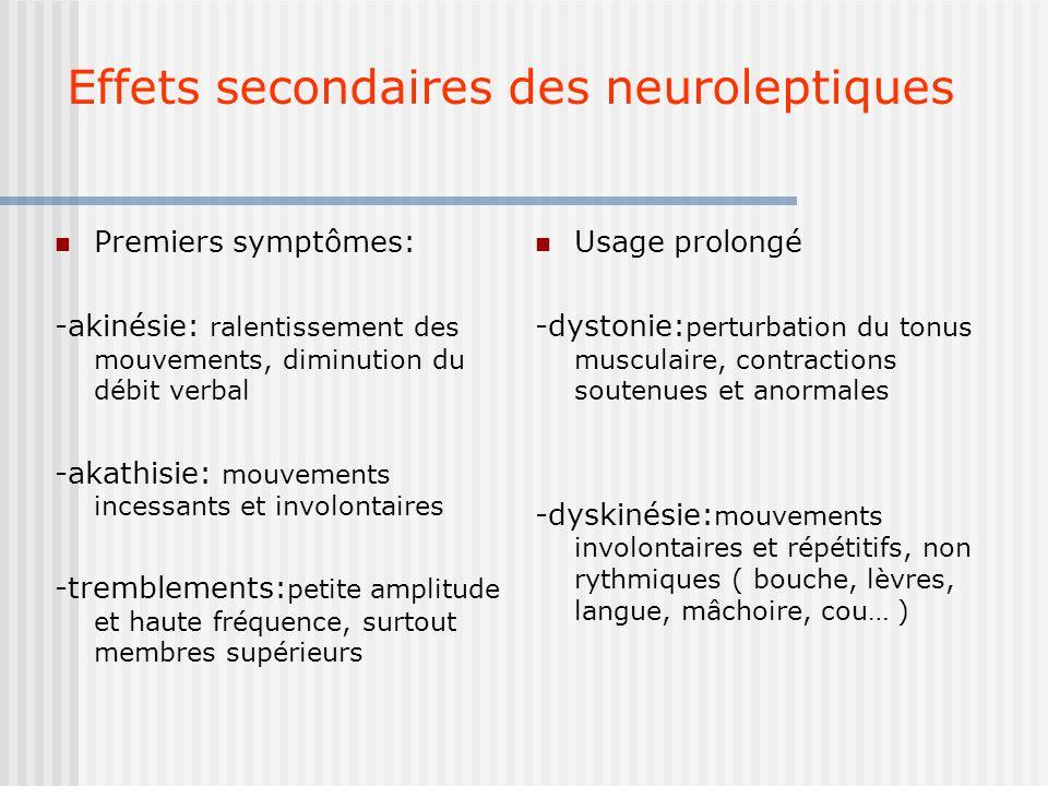 Effets secondaires des neuroleptiques Premiers symptômes: -akinésie: ralentissement des mouvements, diminution du débit verbal -akathisie: mouvements incessants et involontaires -tremblements: petite amplitude et haute fréquence, surtout membres supérieurs Usage prolongé -dystonie: perturbation du tonus musculaire, contractions soutenues et anormales -dyskinésie: mouvements involontaires et répétitifs, non rythmiques ( bouche, lèvres, langue, mâchoire, cou… )
