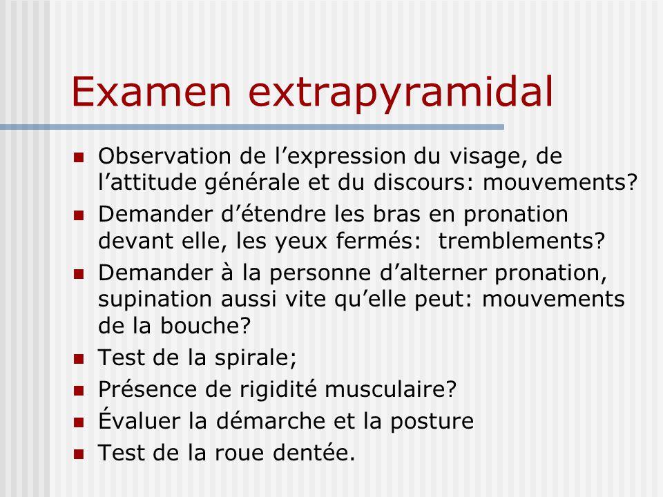 Examen extrapyramidal Observation de lexpression du visage, de lattitude générale et du discours: mouvements.