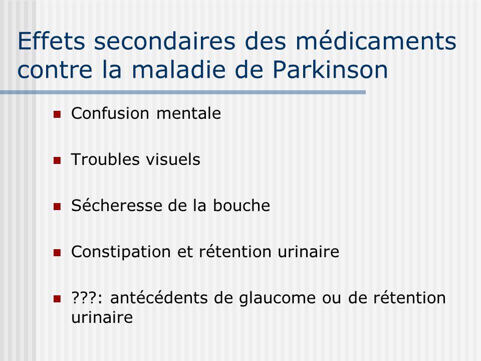 Effets secondaires des médicaments contre la maladie de Parkinson Confusion mentale Troubles visuels Sécheresse de la bouche Constipation et rétention urinaire ???: antécédents de glaucome ou de rétention urinaire