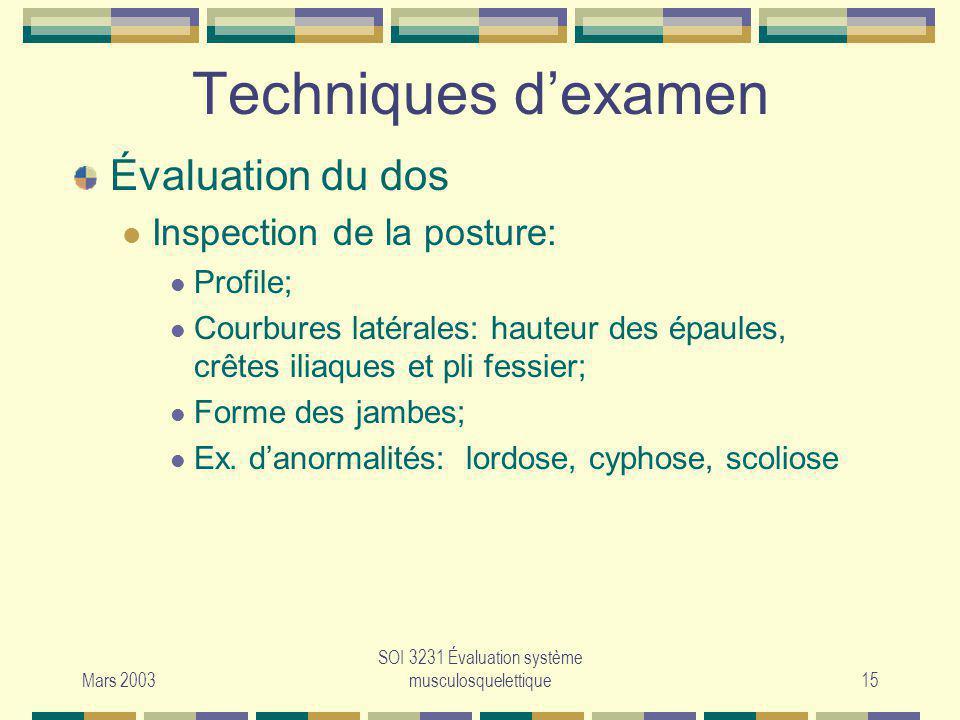 Mars 2003 SOI 3231 Évaluation système musculosquelettique15 Techniques dexamen Évaluation du dos Inspection de la posture: Profile; Courbures latérale