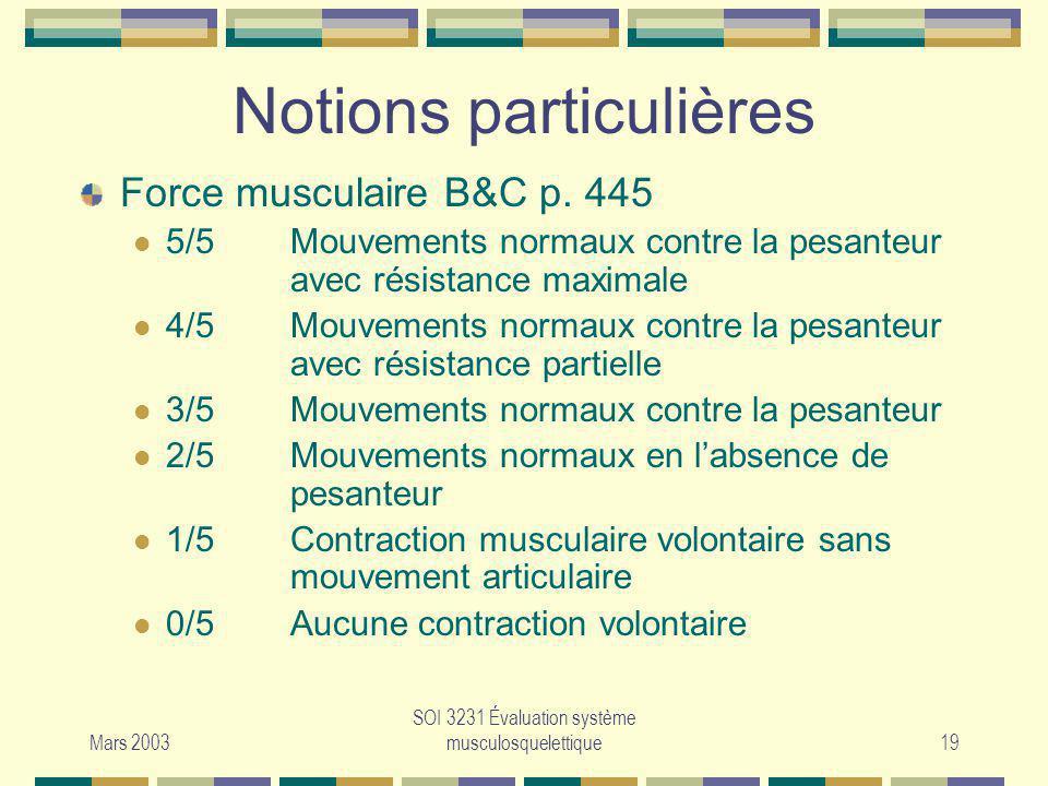 Mars 2003 SOI 3231 Évaluation système musculosquelettique19 Notions particulières Force musculaire B&C p. 445 5/5Mouvements normaux contre la pesanteu