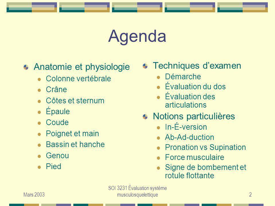 Mars 2003 SOI 3231 Évaluation système musculosquelettique2 Agenda Anatomie et physiologie Colonne vertébrale Crâne Côtes et sternum Épaule Coude Poign