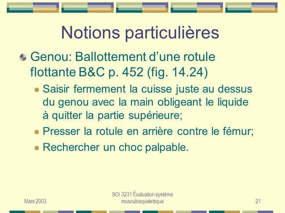Mars 2003 SOI 3231 Évaluation système musculosquelettique21 Notions particulières Genou: Ballottement dune rotule flottante B&C p. 452 (fig. 14.24) Sa