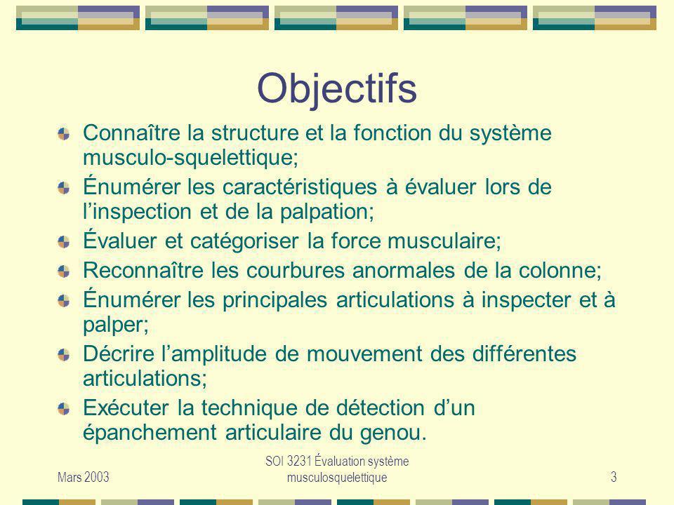Mars 2003 SOI 3231 Évaluation système musculosquelettique3 Objectifs Connaître la structure et la fonction du système musculo-squelettique; Énumérer l