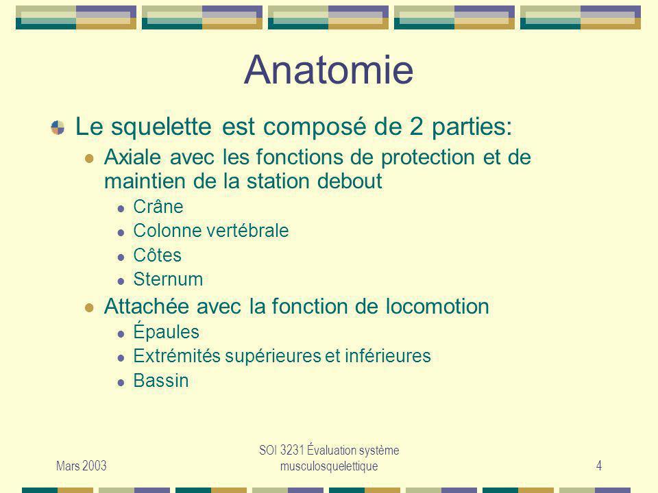 Mars 2003 SOI 3231 Évaluation système musculosquelettique4 Anatomie Le squelette est composé de 2 parties: Axiale avec les fonctions de protection et