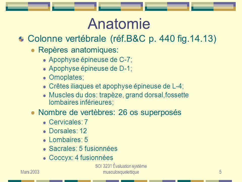 Mars 2003 SOI 3231 Évaluation système musculosquelettique5 Colonne vertébrale (réf.B&C p. 440 fig.14.13) Repères anatomiques: Apophyse épineuse de C-7