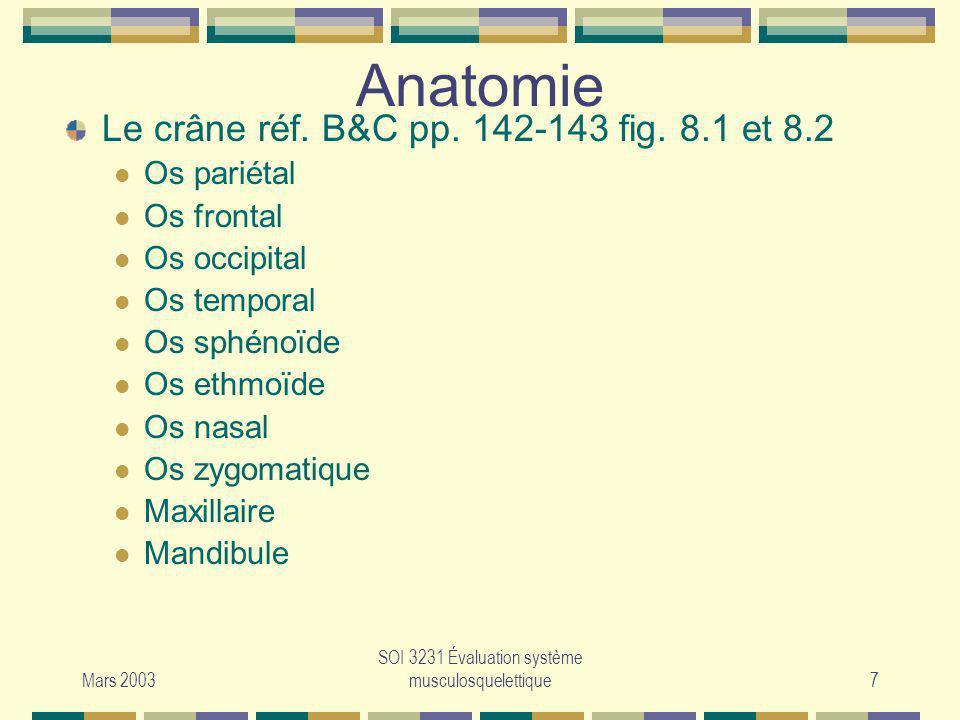 Mars 2003 SOI 3231 Évaluation système musculosquelettique7 Anatomie Le crâne réf. B&C pp. 142-143 fig. 8.1 et 8.2 Os pariétal Os frontal Os occipital