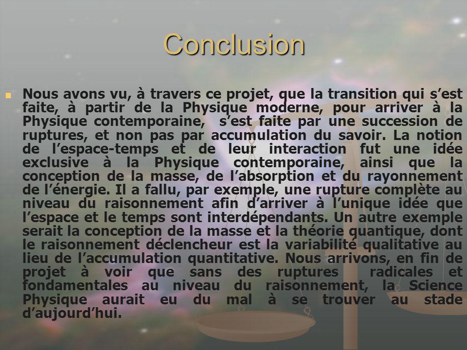 Nous avons vu, à travers ce projet, que la transition qui sest faite, à partir de la Physique moderne, pour arriver à la Physique contemporaine, sest