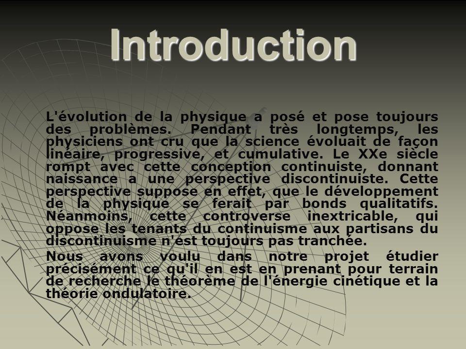 Introduction L'évolution de la physique a posé et pose toujours des problèmes. Pendant très longtemps, les physiciens ont cru que la science évoluait
