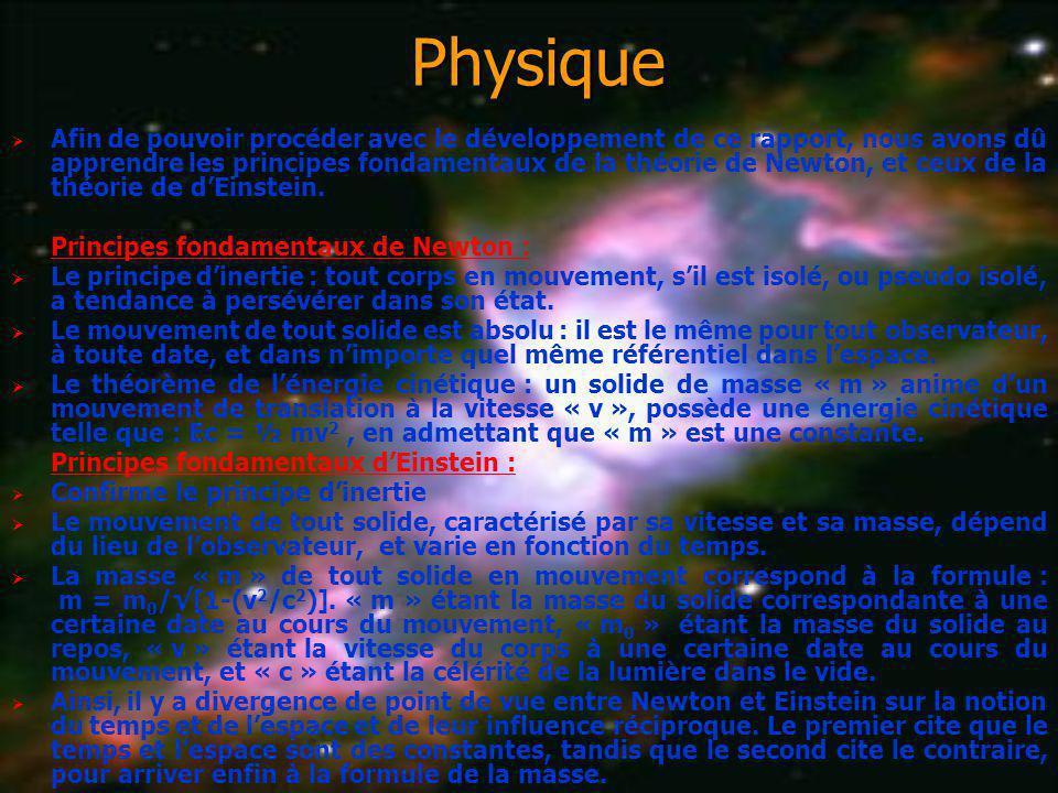 Physique Afin de pouvoir procéder avec le développement de ce rapport, nous avons dû apprendre les principes fondamentaux de la théorie de Newton, et