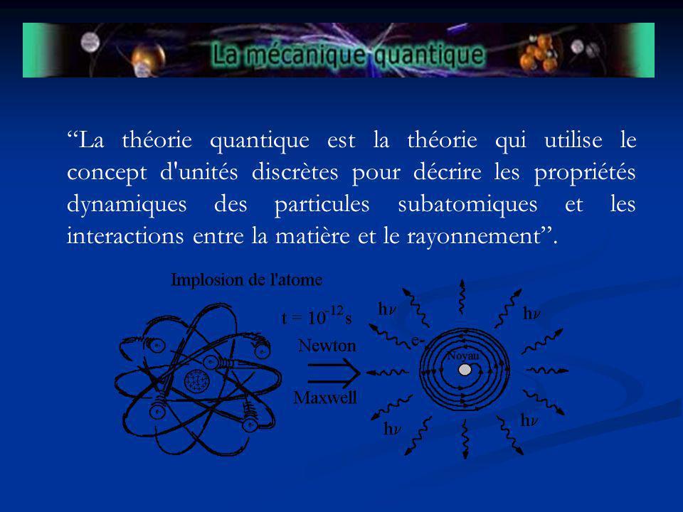 La théorie quantique est la théorie qui utilise le concept d'unités discrètes pour décrire les propriétés dynamiques des particules subatomiques et le