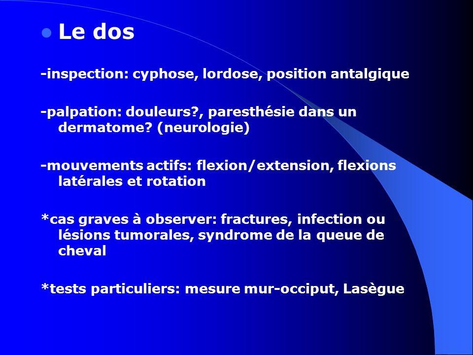 Le dos -inspection: cyphose, lordose, position antalgique -palpation: douleurs?, paresthésie dans un dermatome? (neurologie) -mouvements actifs: flexi