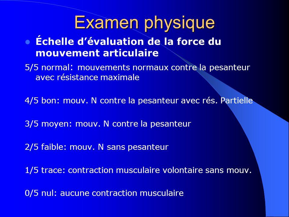 Examen physique Échelle dévaluation de la force du mouvement articulaire 5/5 normal : mouvements normaux contre la pesanteur avec résistance maximale