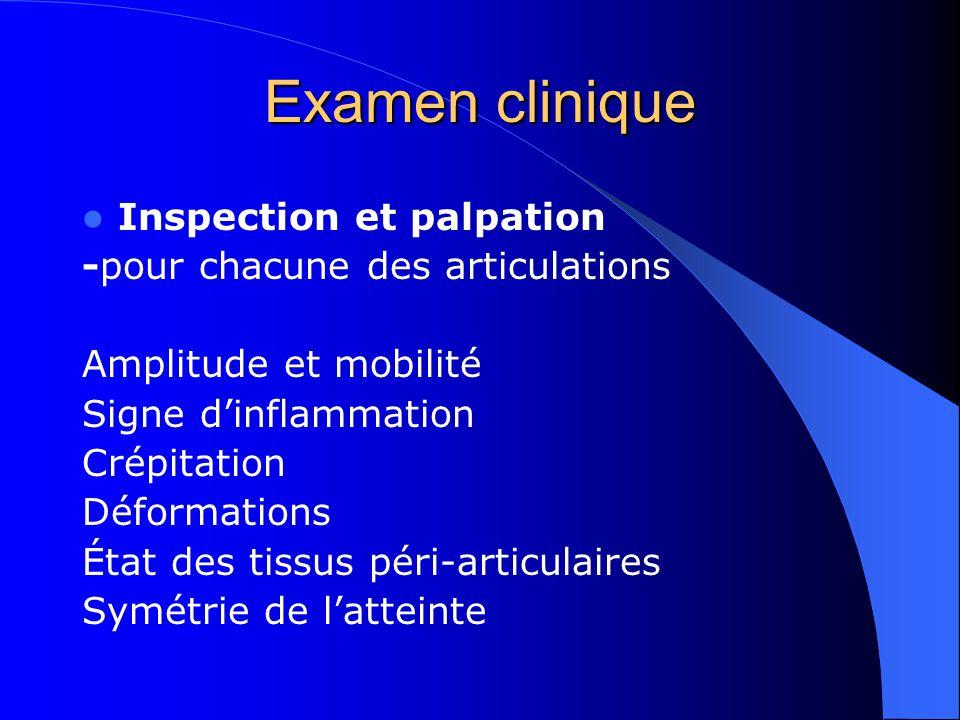 Examen clinique Inspection et palpation -pour chacune des articulations Amplitude et mobilité Signe dinflammation Crépitation Déformations État des ti