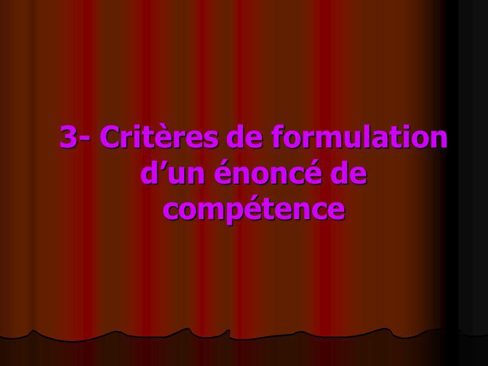 3- Critères de formulation dun énoncé de compétence