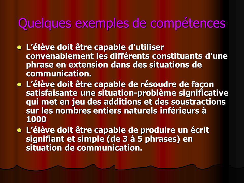 Quelques exemples de compétences Lélève doit être capable d'utiliser convenablement les différents constituants d'une phrase en extension dans des sit