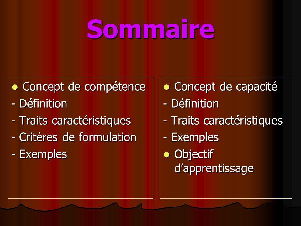 Sommaire Concept de compétence - Définition - Traits caractéristiques - Critères de formulation - Exemples Concept de capacité - Définition - Traits c