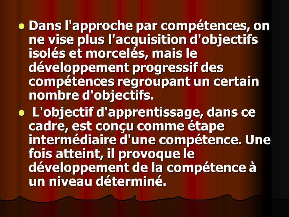 Dans l'approche par compétences, on ne vise plus l'acquisition d'objectifs isolés et morcelés, mais le développement progressif des compétences regrou
