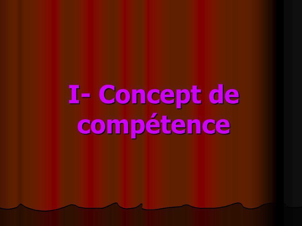 I- Concept de compétence