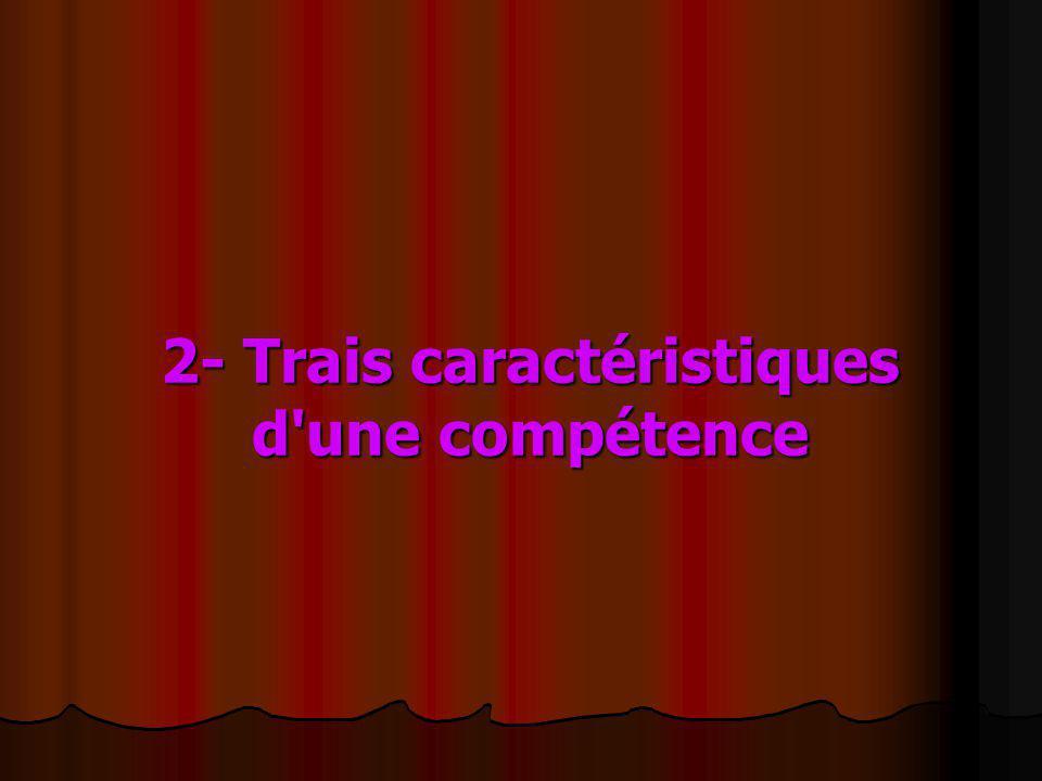 2- Trais caractéristiques d'une compétence