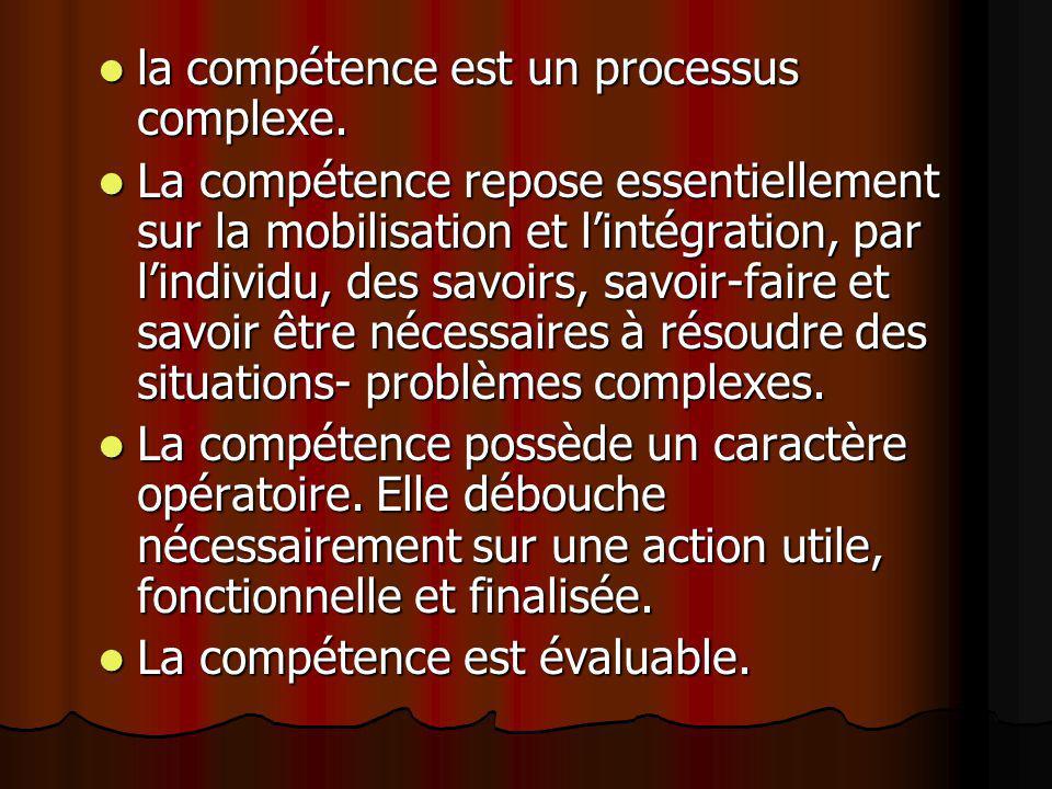 la compétence est un processus complexe. la compétence est un processus complexe. La compétence repose essentiellement sur la mobilisation et lintégra
