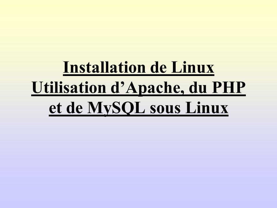 Installation de Linux Utilisation dApache, du PHP et de MySQL sous Linux