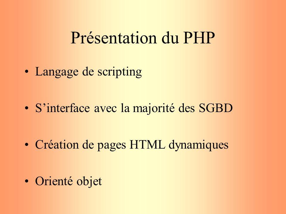 Présentation du PHP Langage de scripting Sinterface avec la majorité des SGBD Création de pages HTML dynamiques Orienté objet