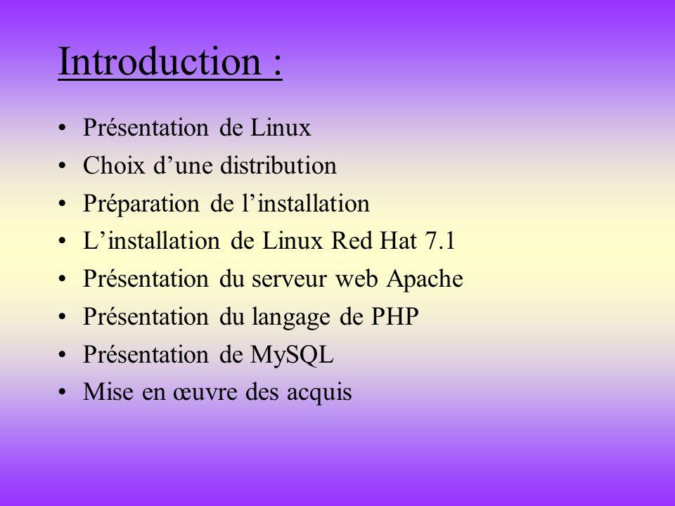 Introduction : Présentation de Linux Choix dune distribution Préparation de linstallation Linstallation de Linux Red Hat 7.1 Présentation du serveur w