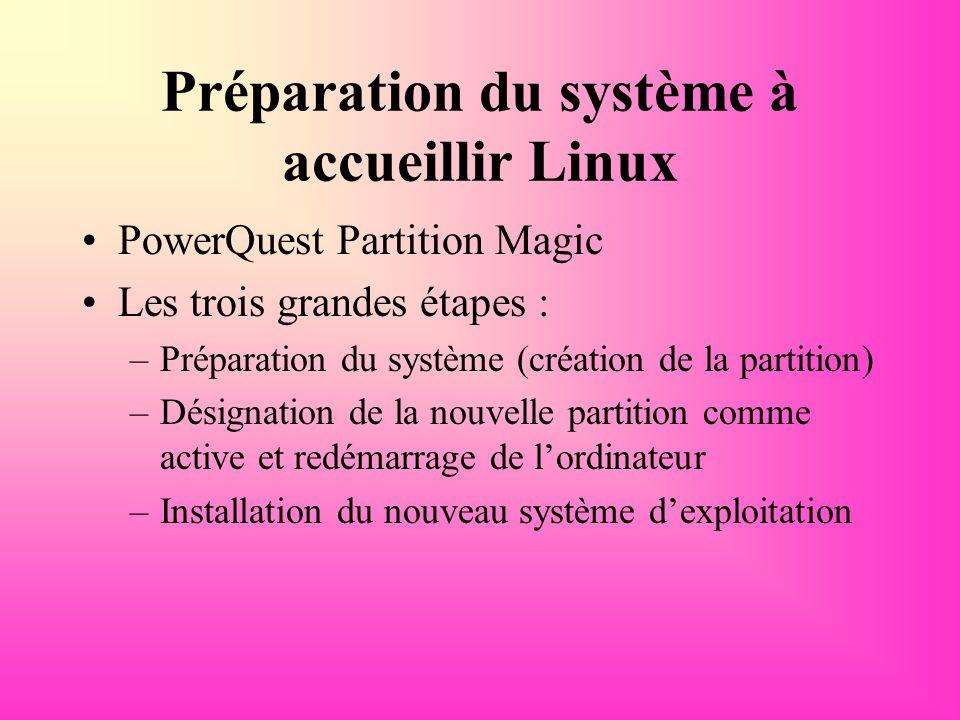 Préparation du système à accueillir Linux PowerQuest Partition Magic Les trois grandes étapes : –Préparation du système (création de la partition) –Dé
