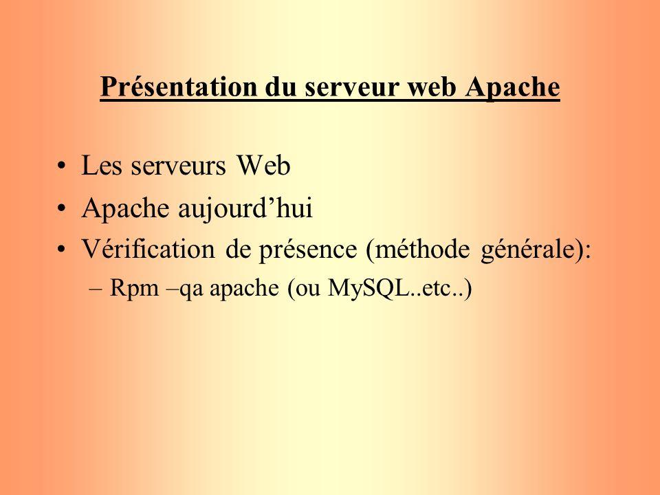 Présentation du serveur web Apache Les serveurs Web Apache aujourdhui Vérification de présence (méthode générale): –Rpm –qa apache (ou MySQL..etc..)