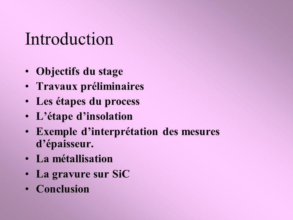 Introduction Objectifs du stage Travaux préliminaires Les étapes du process Létape dinsolation Exemple dinterprétation des mesures dépaisseur.