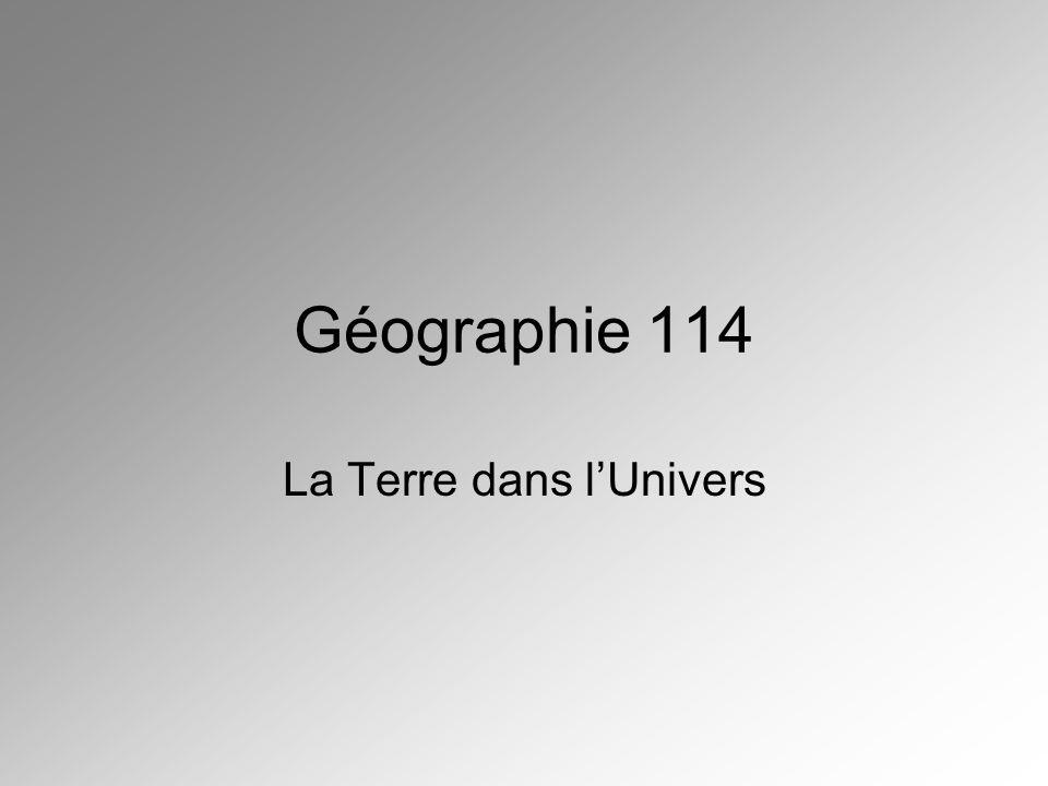 Géographie 114 La Terre dans lUnivers