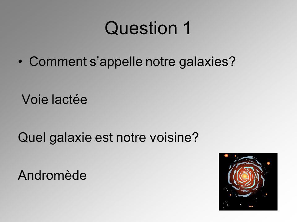 Question 1 Comment sappelle notre galaxies? Voie lactée Quel galaxie est notre voisine? Andromède