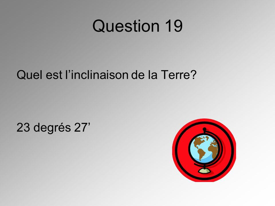 Question 19 Quel est linclinaison de la Terre? 23 degrés 27