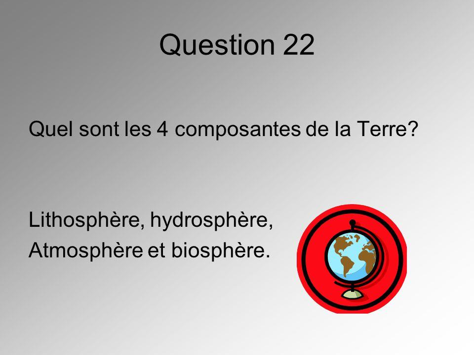 Question 22 Quel sont les 4 composantes de la Terre? Lithosphère, hydrosphère, Atmosphère et biosphère.