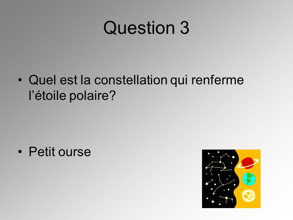 Question 3 Quel est la constellation qui renferme létoile polaire? Petit ourse