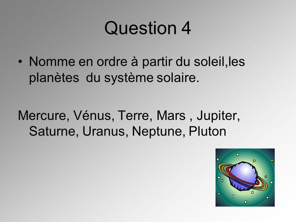 Question 4 Nomme en ordre à partir du soleil,les planètes du système solaire. Mercure, Vénus, Terre, Mars, Jupiter, Saturne, Uranus, Neptune, Pluton